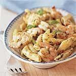 Shrimp and Pasta with Creamy Pesto Sauce Recipe | MyRecipes.com