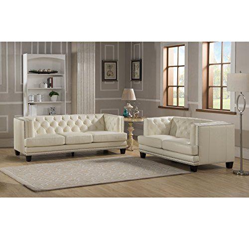 Sofaweb Elle Tufted Premium Cream Top Grain Leather Sofa And Loveseat Review Https