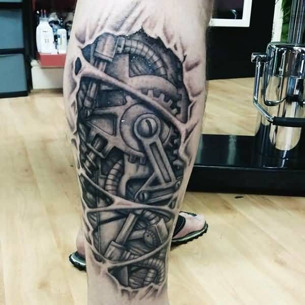 Superb 3d Grey Mechanical Gears Tattoo On Leg Gears Leg Tattoo