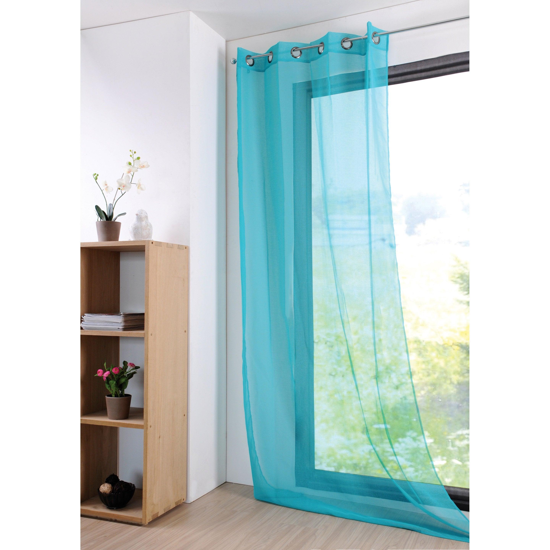 Voilage Transparent Monna Bleu Celadon L 135 X H 260 Cm Voilage Decoration Maison Et Rideaux Oeillets