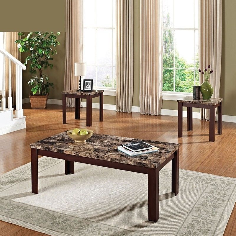 3 pc cherry black solid wood faux marble top coffee end