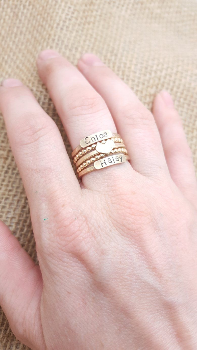 Image of 14k gold filled Stacked Mothers Rings Customized Kids Names ...