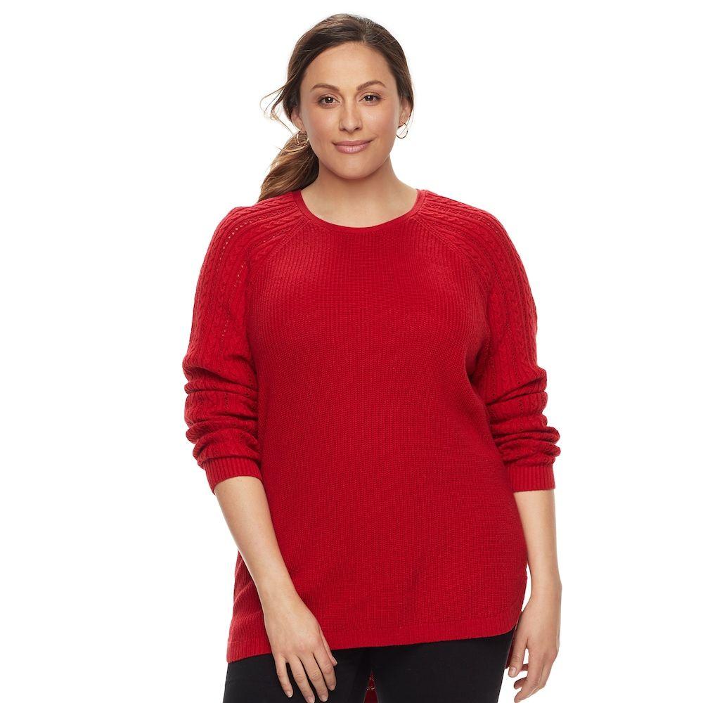 """Plus Size SONOMA Goods for Lifeâ""""¢ Pointelle Crewneck Sweater ..."""