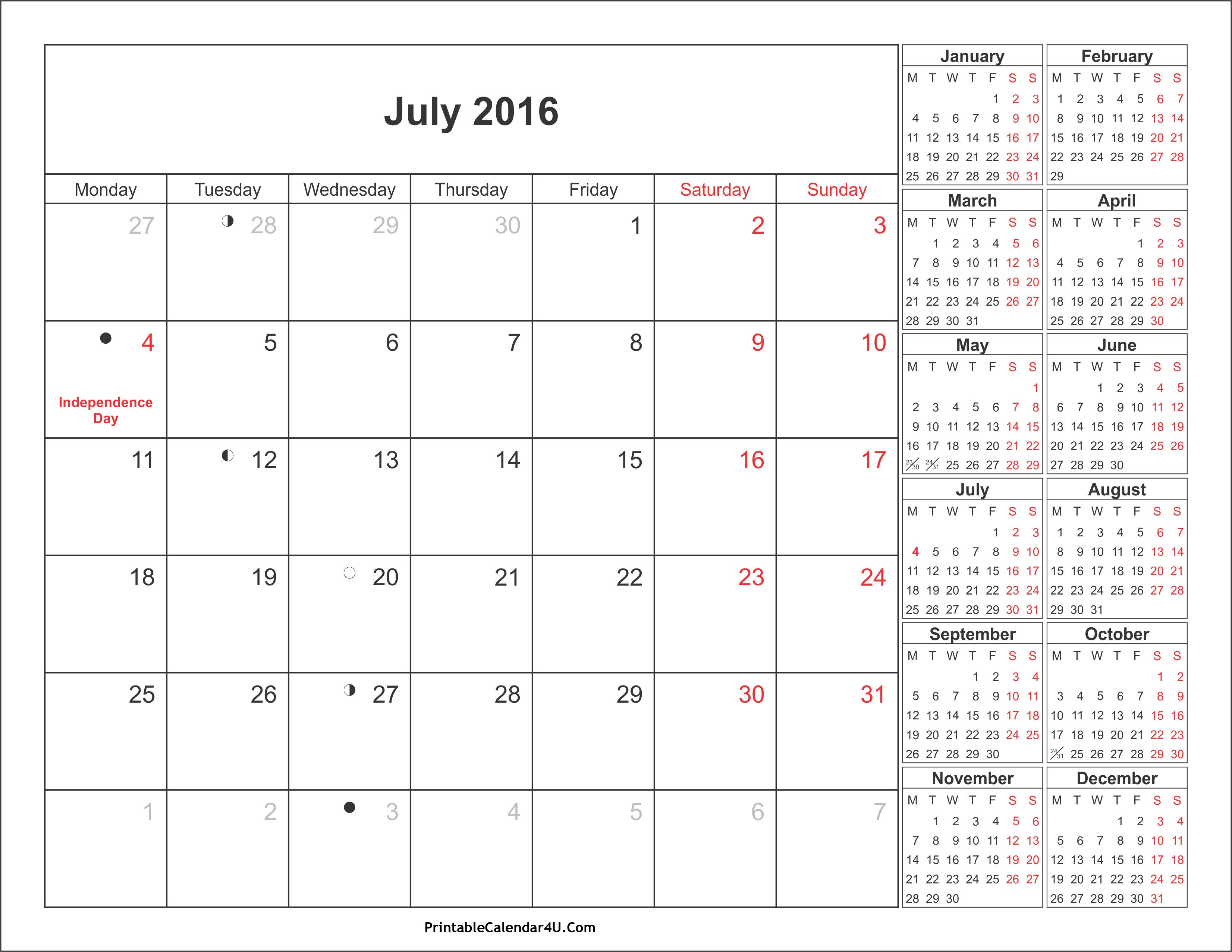 2016 July Calendar With Holidays August calendar