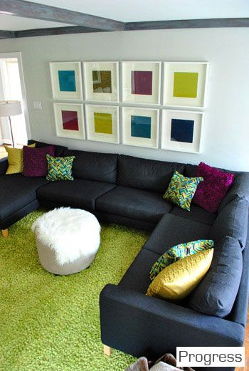 Our Second House Cool Couches Bright Pillows Living Room Colors