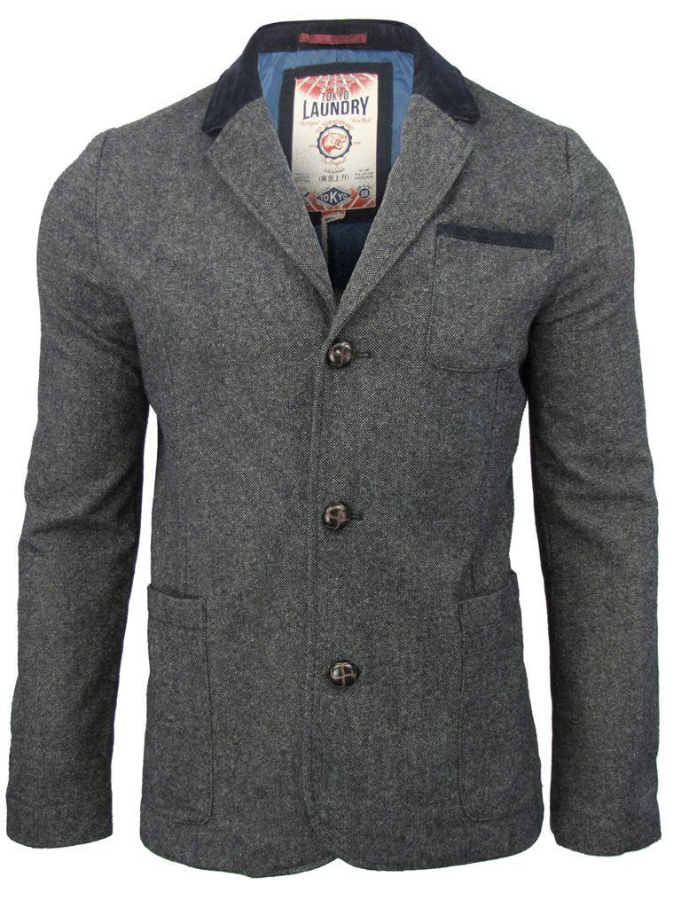 Mens Tokyo Laundry Melton Blazer Style Jacket/ Coat 'Bayham' Wool ...