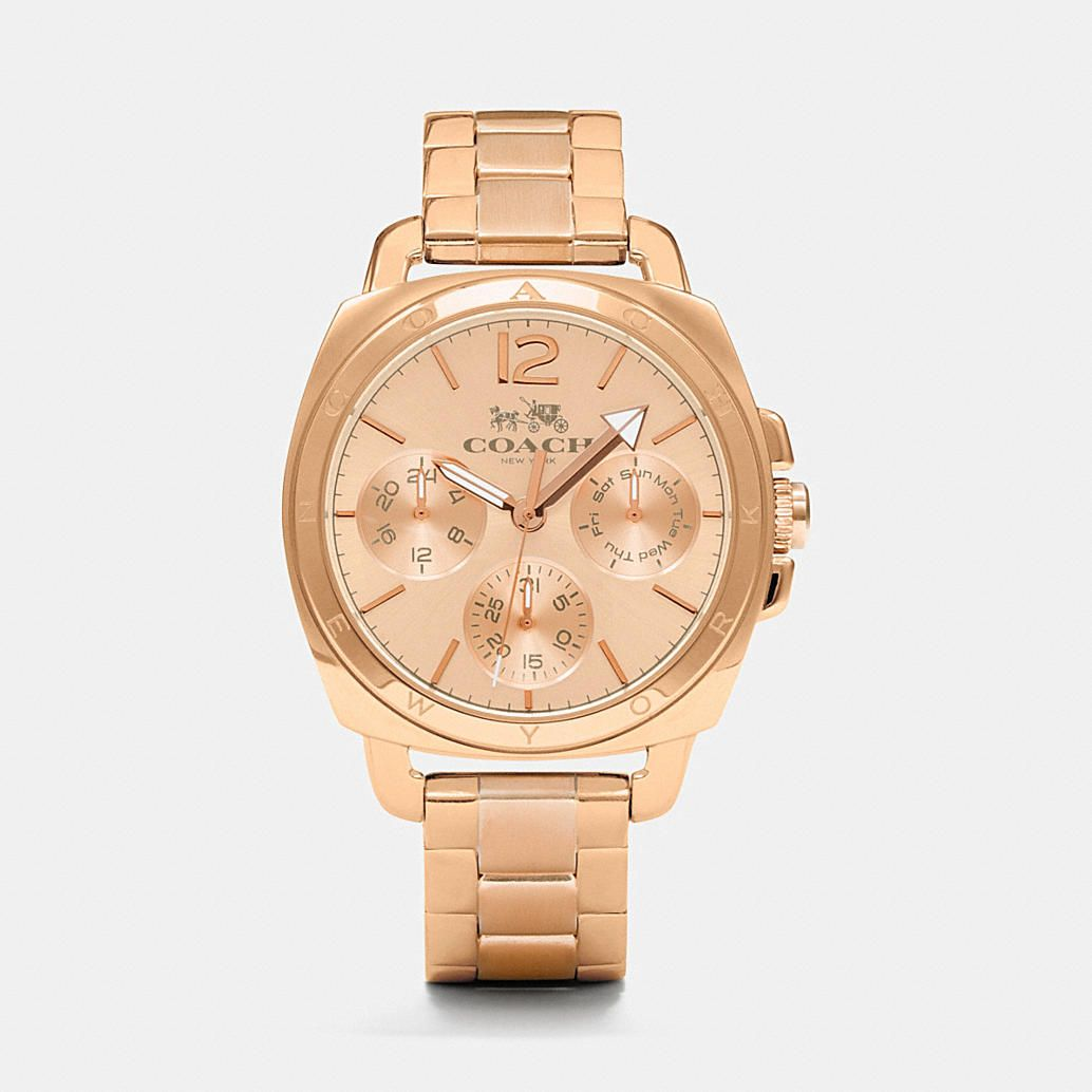 Sporty subdials add pretty complexity to the rosy glow of a classic metal-link bracelet watch with a rich rose-gold plating. Crafted exclusively for Coach by a legendary watch house, this timepiece is shock-resistant and water-resistant to a depth of 99 feet.
