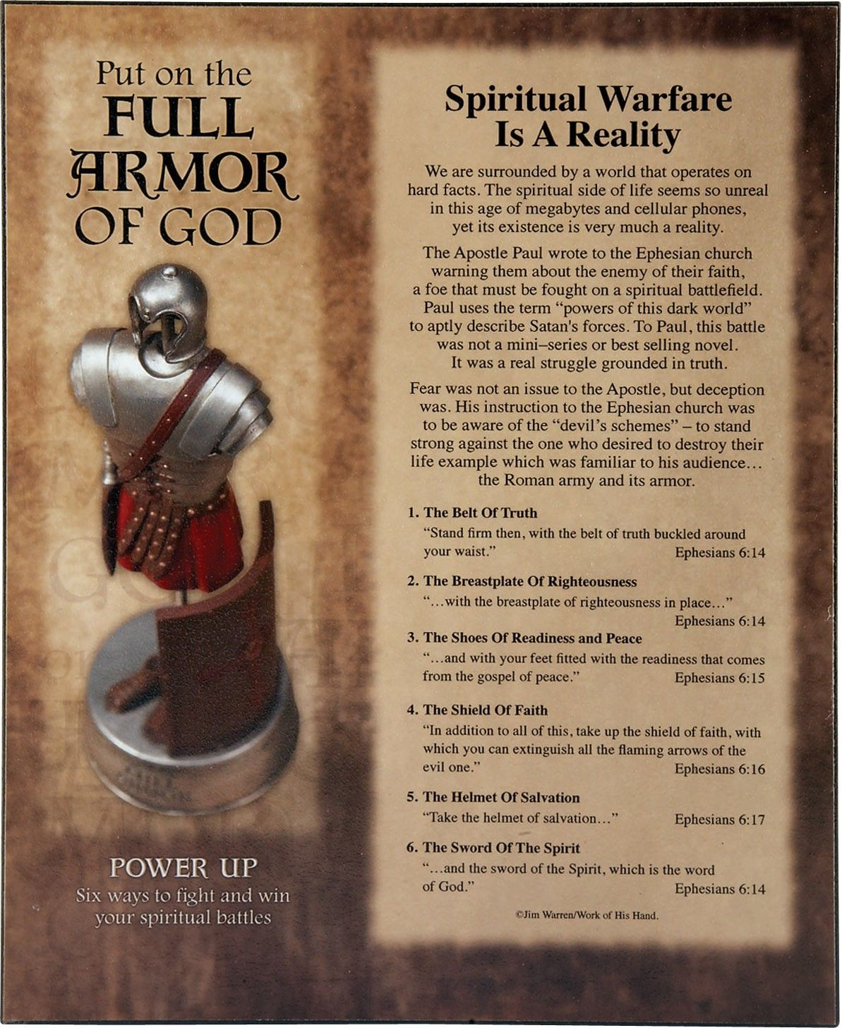 """[""""Six ways to fight and win your spiritual battles are spelled out on wall  plaque 8\"""" x 10\"""" x .75\"""", with Full Armor of God graphic and Scripture  quotes ..."""