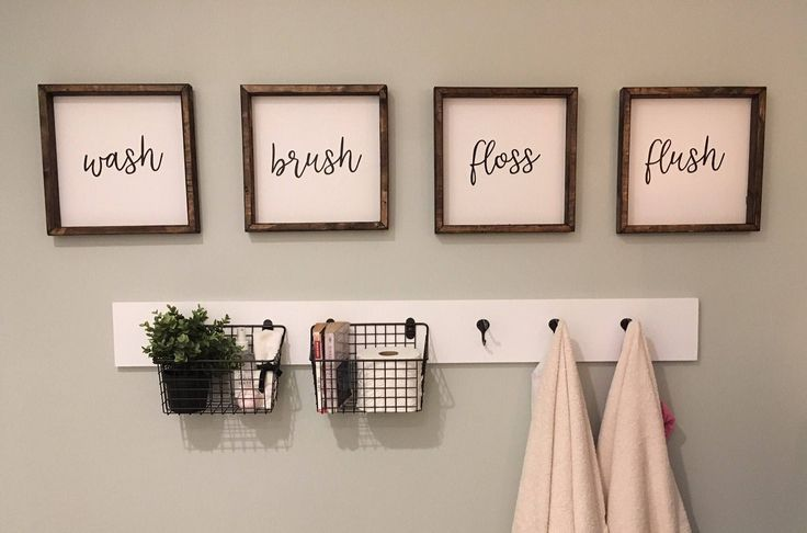 Photo of Wash, brush, floss, flush, wood sign, wash brush floss flush bathroom sign, wash brush floss. bathro
