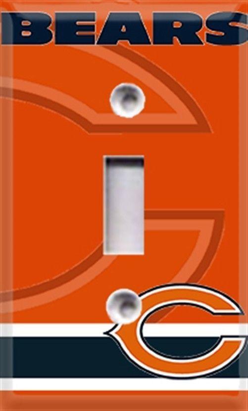 Football Chicago Bears Orange Single Light Switch Cover Room Decor #Leviton