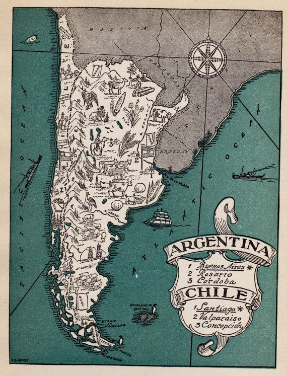 Charming argentina and chile map gallery wall art original charming argentina and chile map gallery wall art original whimsical vintage 40s picture map plaindealing gumiabroncs Gallery