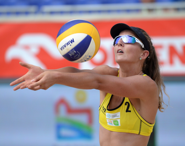 Jolien Sinnema Of The Netherlands Bumps The Mikasa Beach Volleyball Mikasa Volleyball