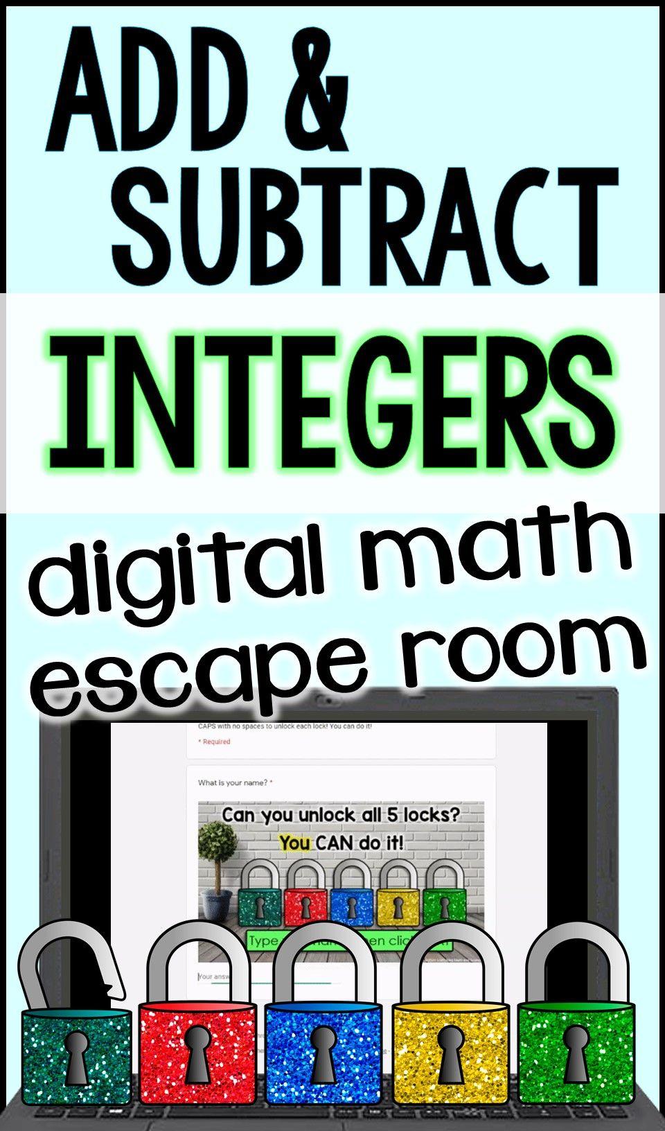 Integers Digital Math Escape Room Math Integers Integers Math Adding and subtracting integers escape