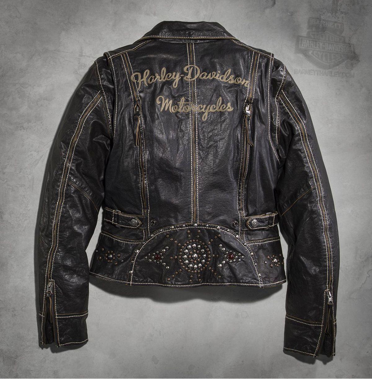 Harley Davidson 97112 16vw Harley Davidson Womens Panorama Biker With Stud Jewel Design Black Leather J Harley Jacket Biker Outfit Black Leather Jacket [ 1222 x 1200 Pixel ]