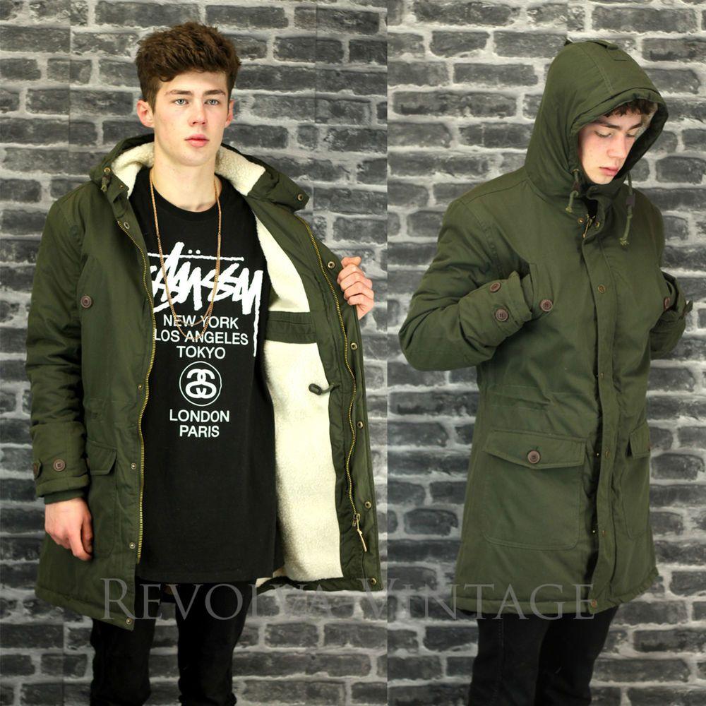 Parka Coat Mens Fish Tail Mod Style Green Parker Jacket Faux ...