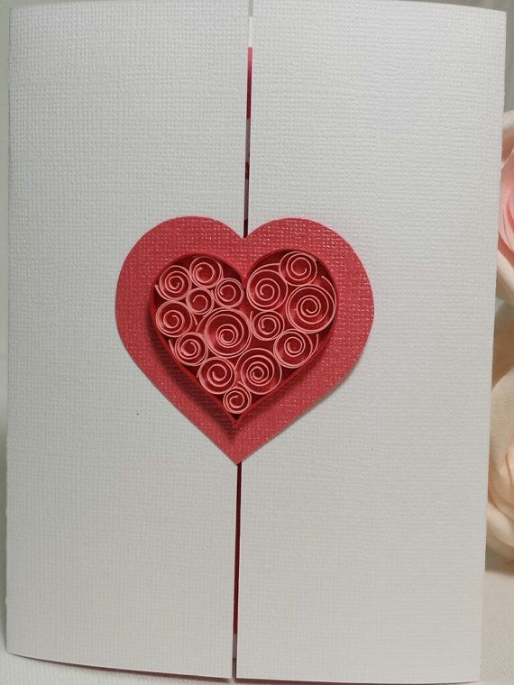 Handmade Paper Quilling Quilled Pink Pocket Heart Valentines Day