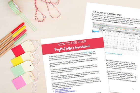 PayPal Seller Spreadsheet - bookkeeping template for online