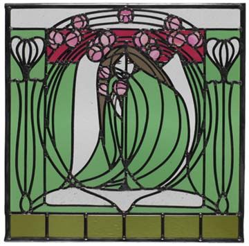 James Herbert McNair (1868-1955) - Reproduction Stained Glass Panel. Designed Circa 1902.