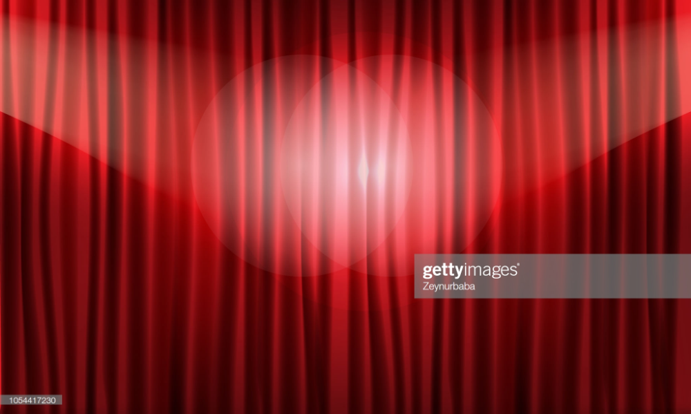 Close View Of Realistic Red Curtain 3d Vector Illustration