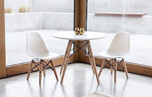 Super Amazon Com Urbanmod Kids Eames Style Modern White Table Set Bralicious Painted Fabric Chair Ideas Braliciousco