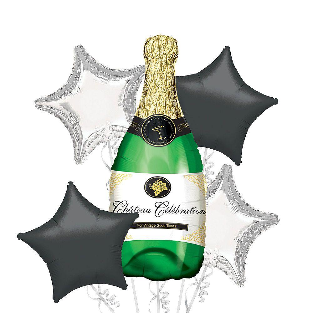 Foil Champagne Bottle Balloon Bouquet 5pc Image 1
