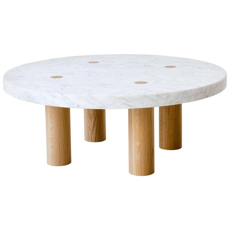 Stone Column Coffee Table In Carrara Marble And White Oak Wood By Fort Standard White Oak Wood Stone Coffee Table Coffee Table