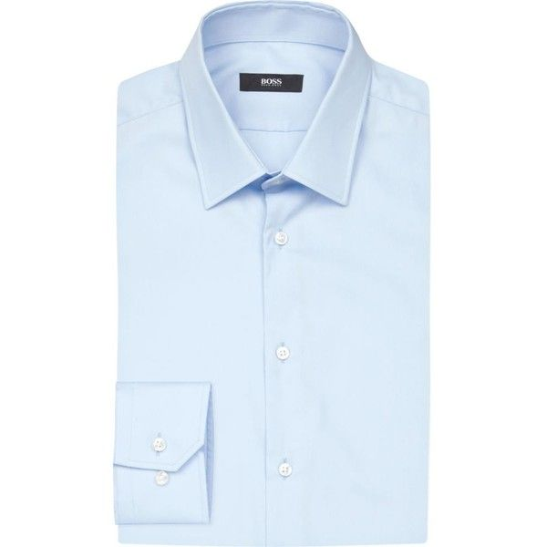 Hugo Boss Slim-fit cotton shirt ($92) ❤ liked on Polyvore featuring men's fashion, men's clothing, men's shirts, men's dress shirts, mens collared shirts, mens long sleeve shirts, mens button down dress shirts, mens formal shirts and mens dress shirts
