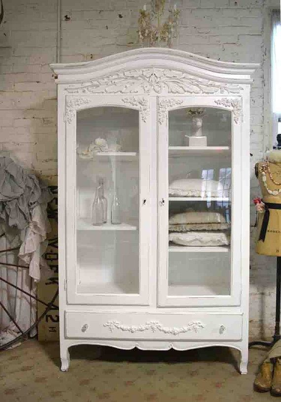 Painted Cottage Chic Shabby French Romantic Armoire Wardrobe China Cabinet Linen Closet