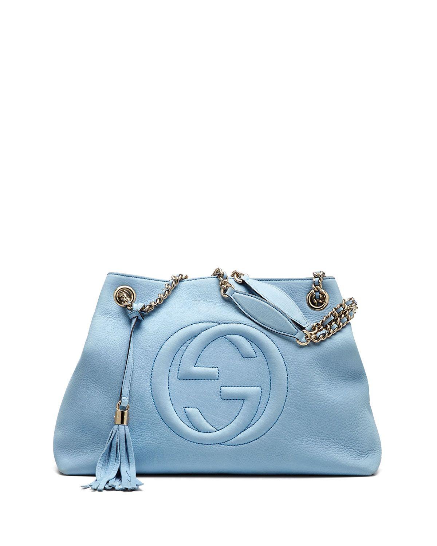 a157435a9d Soho Nubuck Leather Medium Chain-Strap Tote Bag Light Blue | It's ...