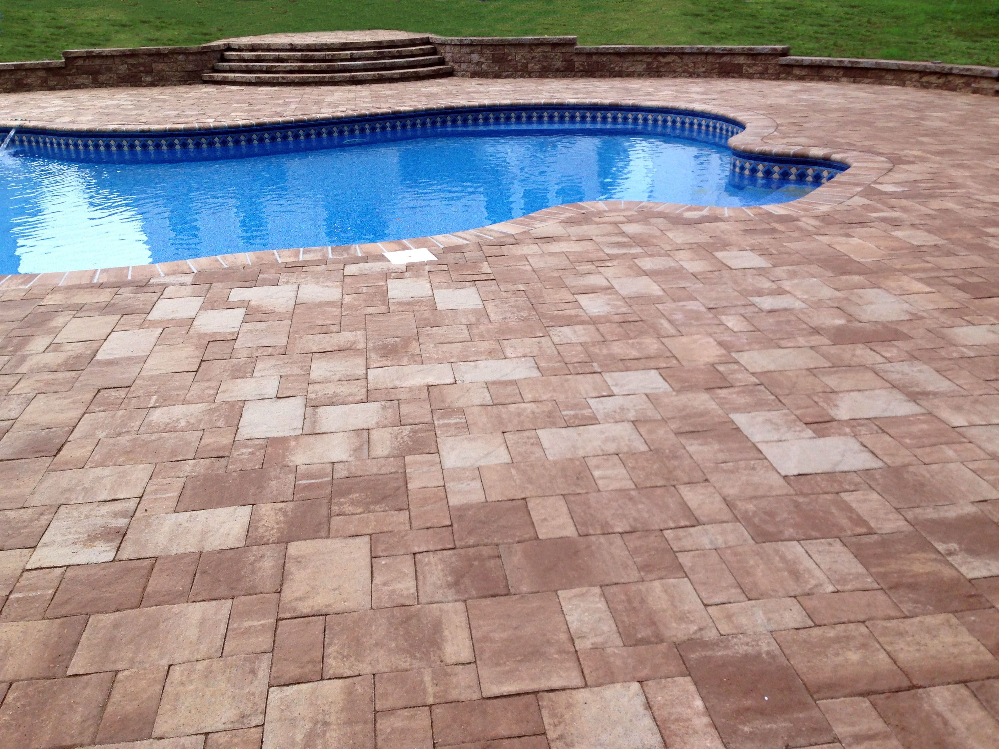 paver pool deck in ocean city sand color a great look for a pool