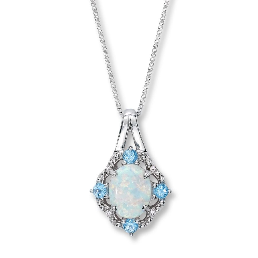 LabCreated Opal Necklace Topaz Diamond Sterling Silver Opal