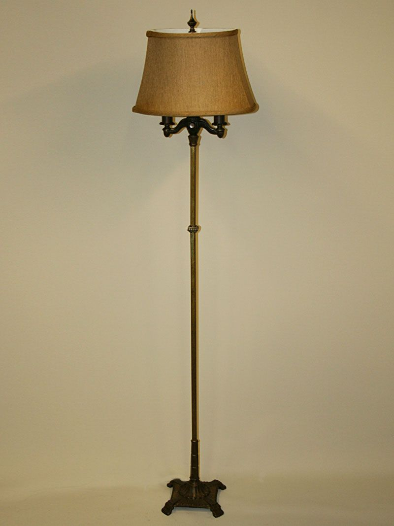 Vintage Art Deco Floor Lamp With Stream Lined Details C 1930