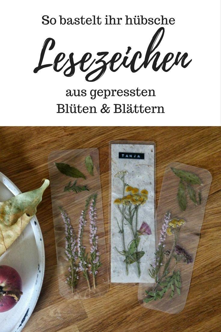 DIY: Lesezeichen aus Blättern & Blüten basteln –