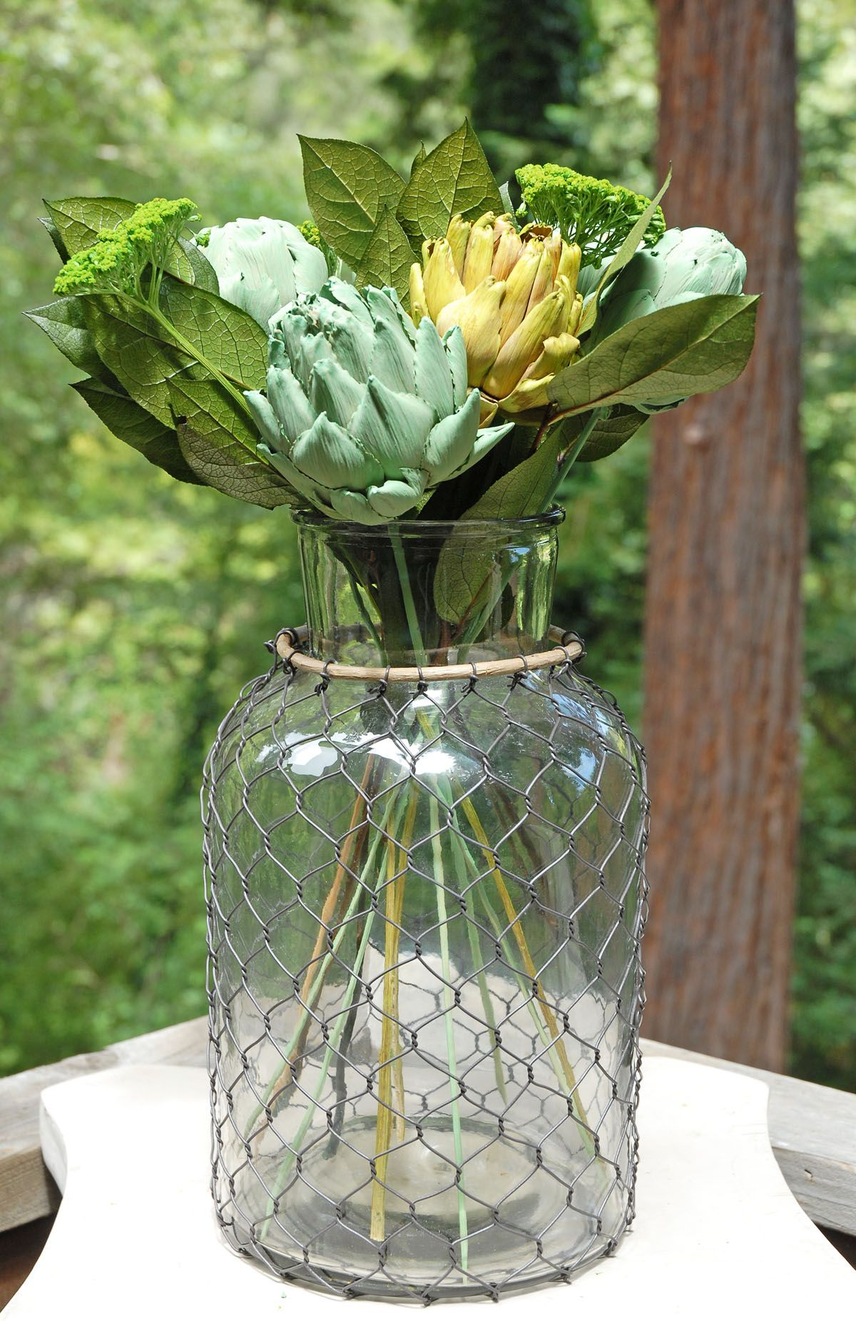 Large 12 glass vase with chicken wire bamboo farmhouse chic large 12 glass vase with chicken wire bamboo reviewsmspy