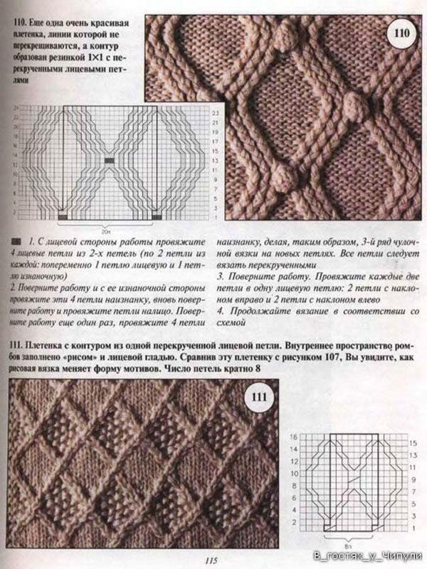 представляет собой узоры вязаные плетеные спицами фото со схемами монтажа