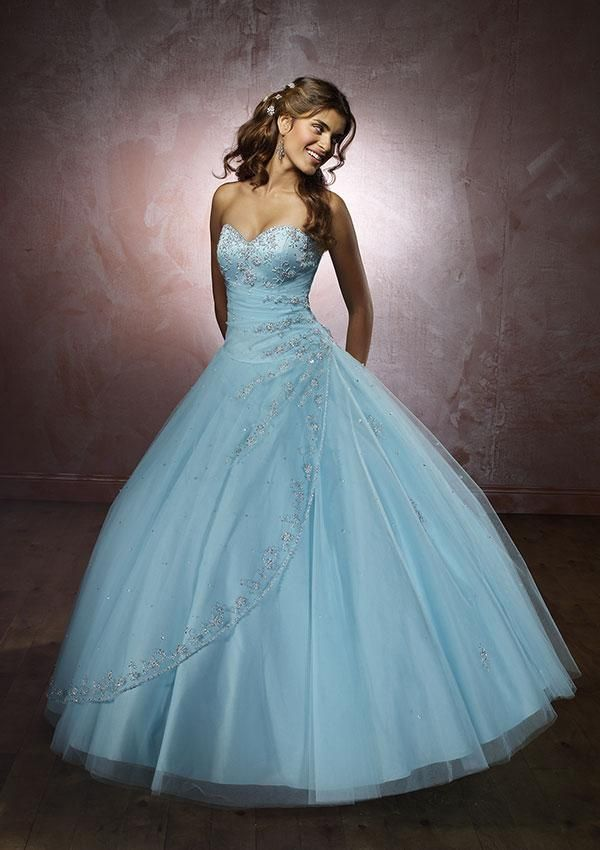 USD$212.81 - Light Blue Beaded Quinceanera Ball Gown Sweet Sixteen ...