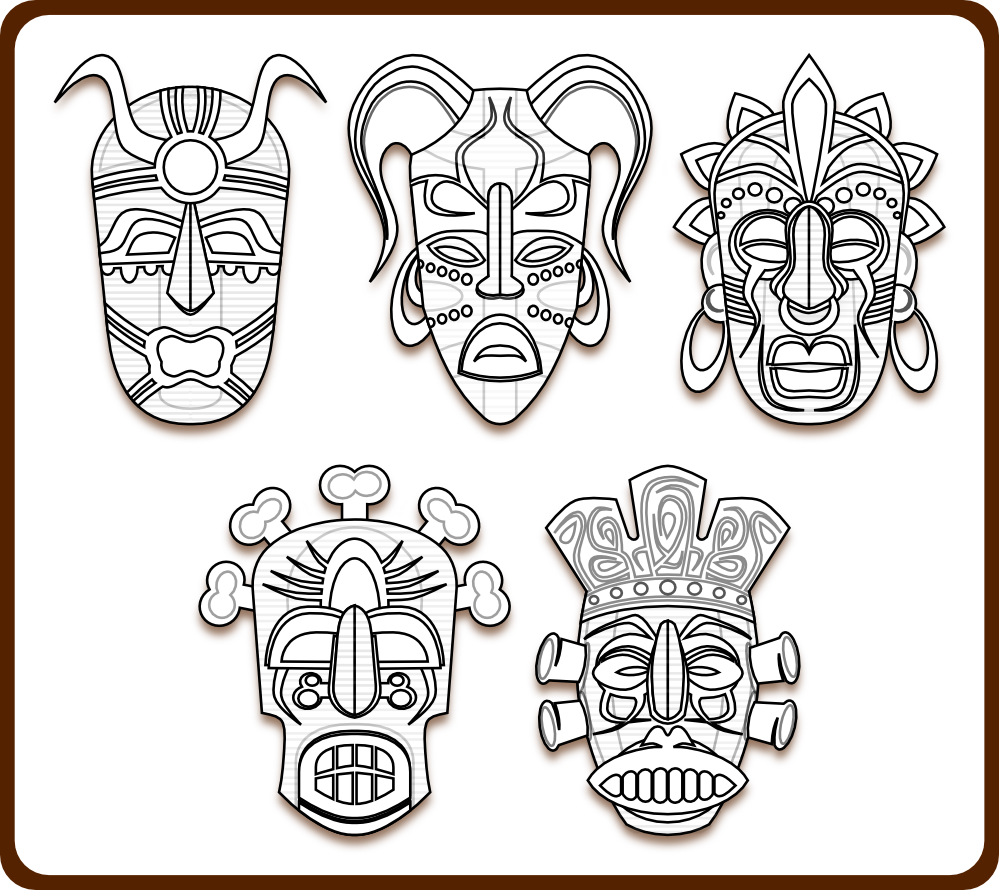 Clip Art African Masks Coloring Pages 1000 images about year 7 african masks on pinterest afrikaans coloring and pages