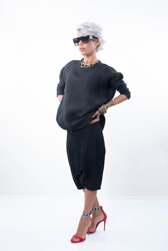 Long Linen Tunic, Black Linen Tunic Top, Oversize Tunic, Plus Size Tunic, Linen Top #linentunic