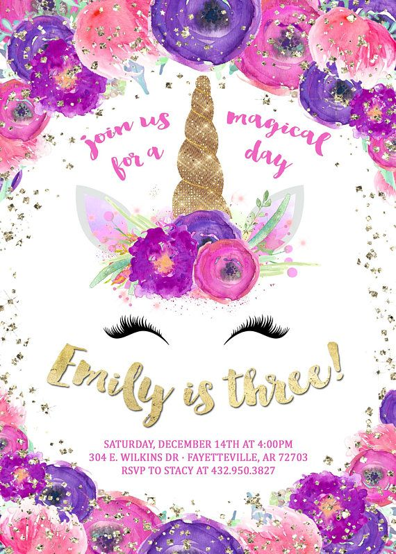 Unicorn Birthday Invitation Magical Party Invite Theme Rainbow Printable Printed Invitations
