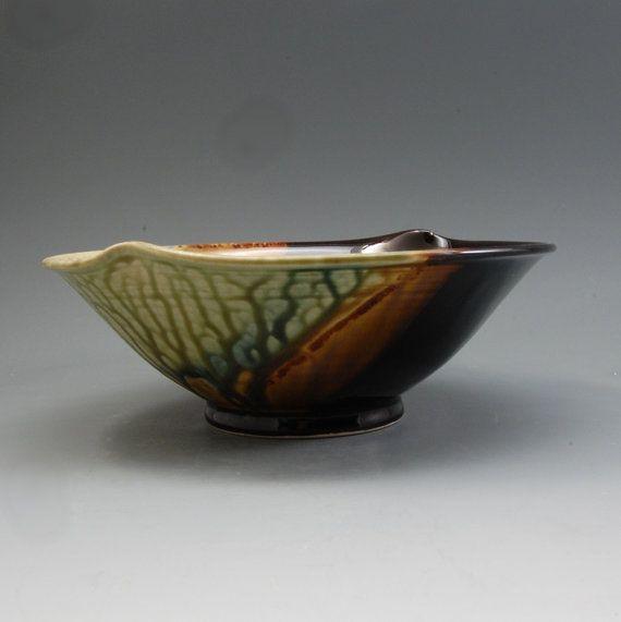 Bowl Handmade Porcelain Pottery Cinnamon Brown Fern by MarkHudak, $39.00
