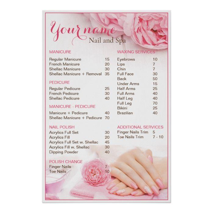 Beauty Nail Salon Price List Poster Zazzle Com In 2020 Nail Salon Prices Salon Price List Beauty Nail Salon