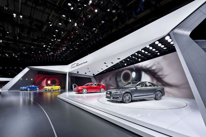 Exhibition Stand Car : Audi booth at paris motor show by kms blackspace exhibit