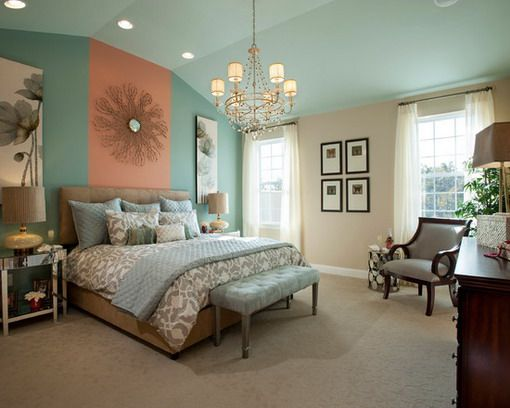 Green and Red Soft Colors in Romantic Master Bedroomjpg Bedroom