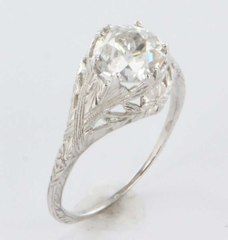 band! - Art Deco Diamond Filigree 18k Gold Engagement Ring Vintage Estate Wedding Fine Old Heirloom Pre Owned Used Jewelry