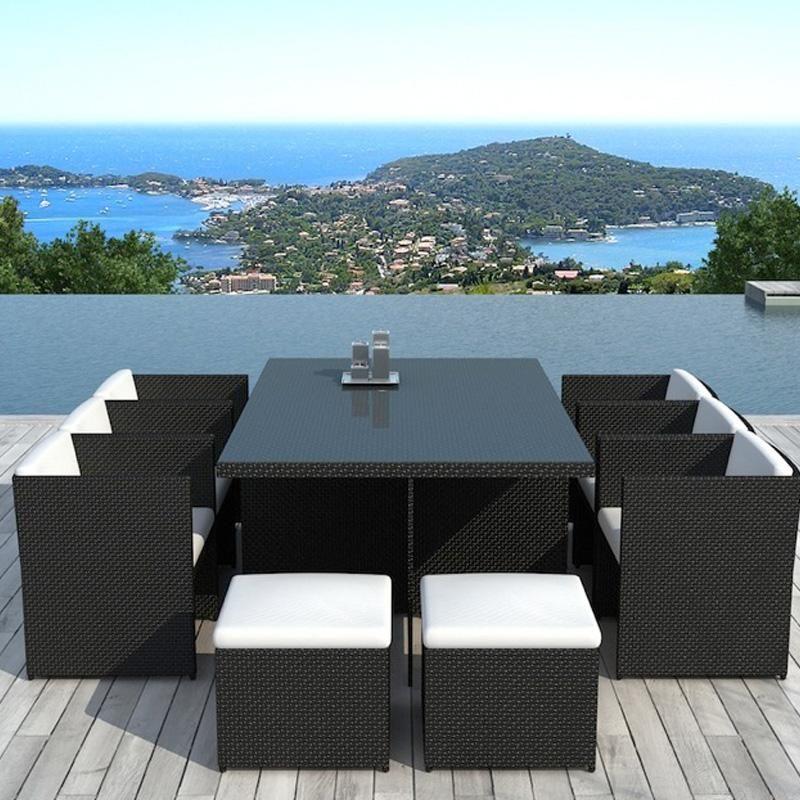 Table Et Fauteuils De Jardin Vicom 10 Places En Resine Tressee