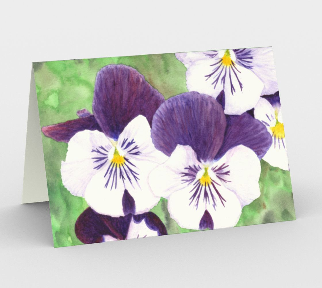 Purple And White Pansies Flowers Stationery Card Flowers