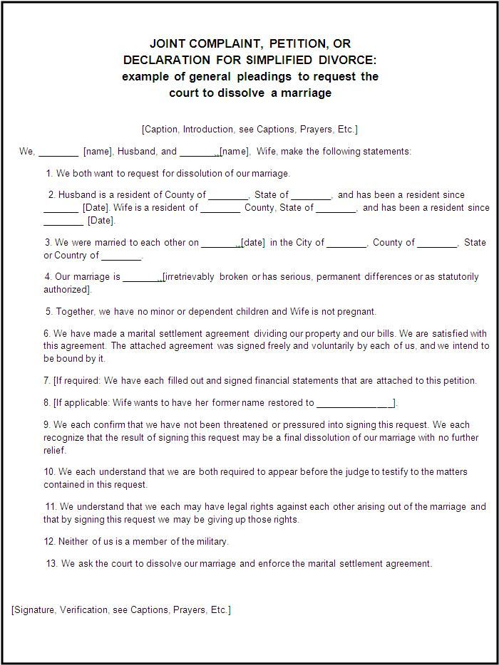 Divorce forms free word templates legal divorce papers for Divorce agreement template canada