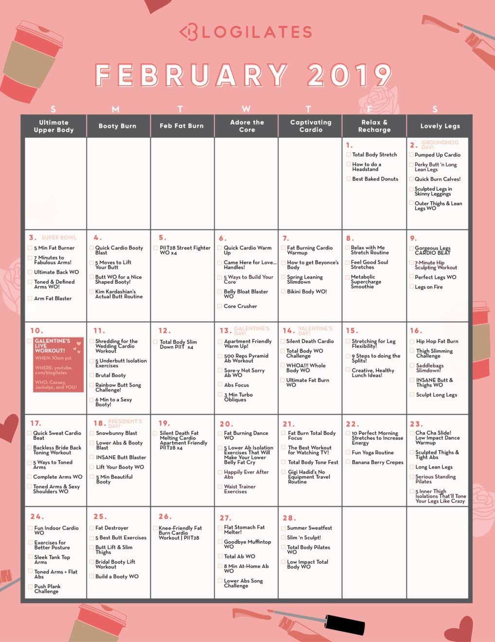 Blogilates Calendar February 2019 Your February Workout Calendar! | Health | Workout calendar