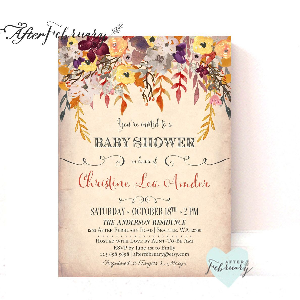 Fall Baby Shower Invitations / Autumn Baby Shower Invites ...