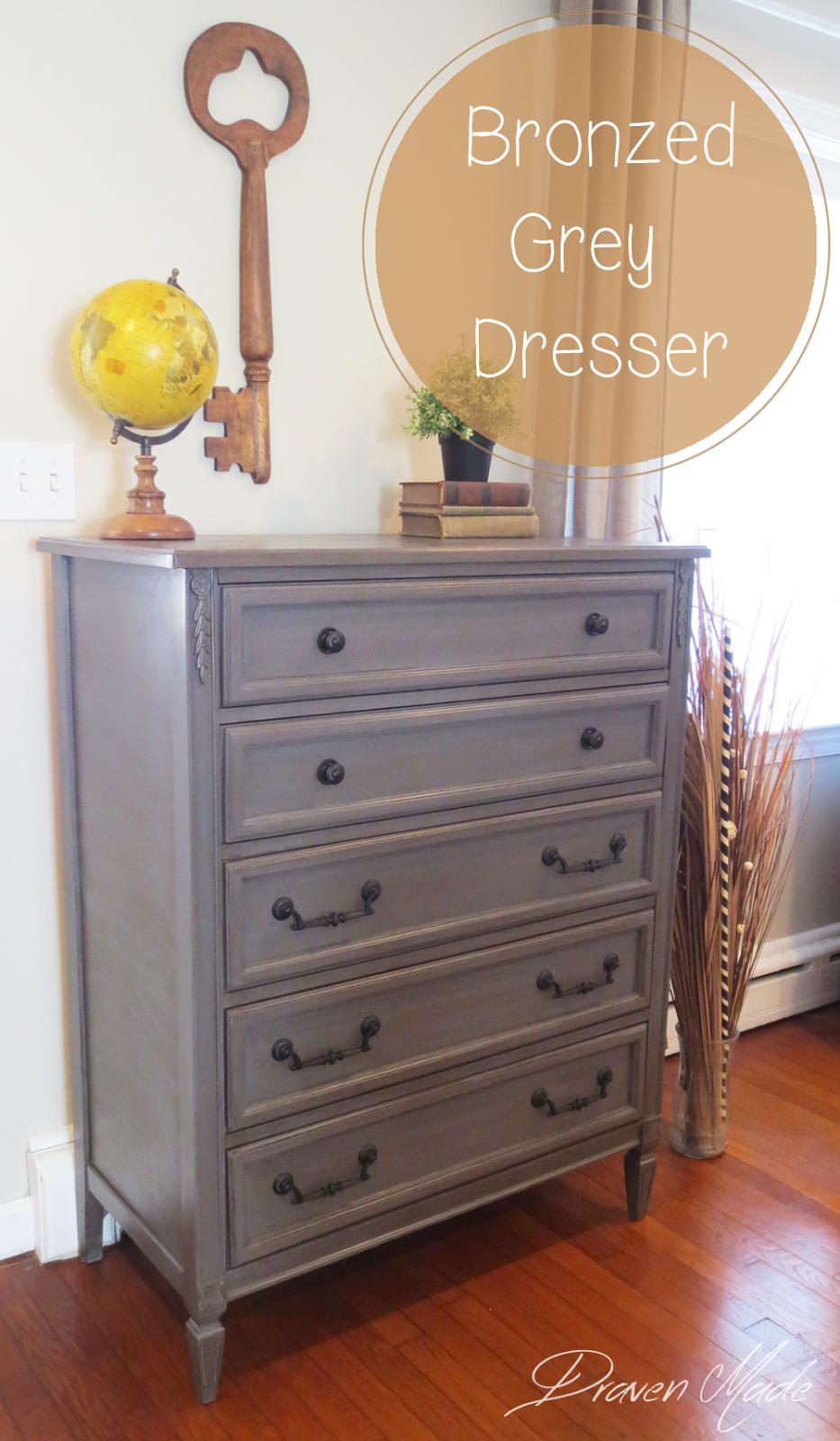 How To Glaze Furniture Bronze Gray Dresser Living In A Fixer Upper Painted Bedroom Furniture Grey Dresser Furniture Makeover [ 1600 x 933 Pixel ]